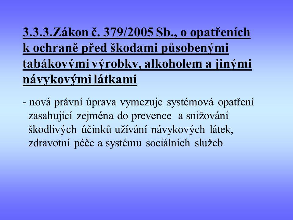 3.3.3.Zákon č. 379/2005 Sb., o opatřeních k ochraně před škodami působenými tabákovými výrobky, alkoholem a jinými návykovými látkami
