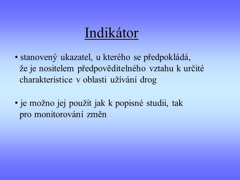 Indikátor stanovený ukazatel, u kterého se předpokládá, že je nositelem předpověditelného vztahu k určité charakteristice v oblasti užívání drog.