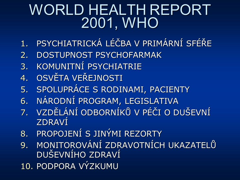 WORLD HEALTH REPORT 2001, WHO