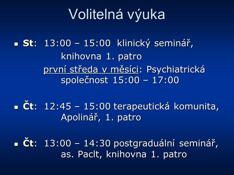 Volitelná výuka St: 13:00 – 15:00 klinický seminář, knihovna 1. patro