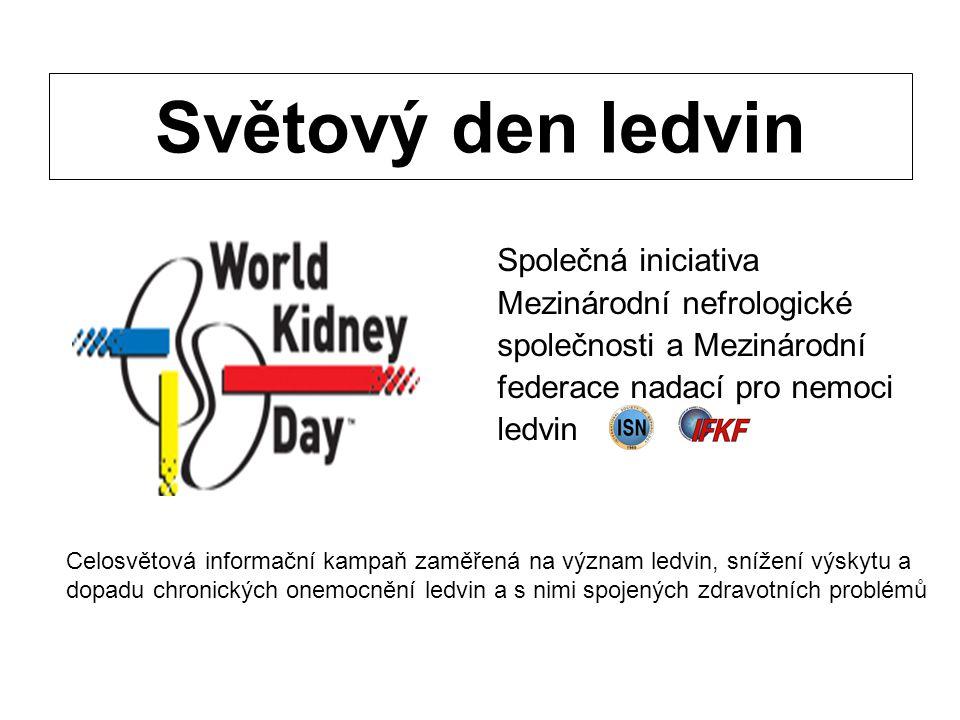 Světový den ledvin Společná iniciativa Mezinárodní nefrologické