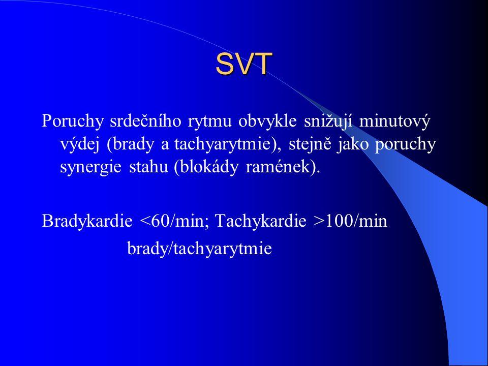 SVT Poruchy srdečního rytmu obvykle snižují minutový výdej (brady a tachyarytmie), stejně jako poruchy synergie stahu (blokády ramének).