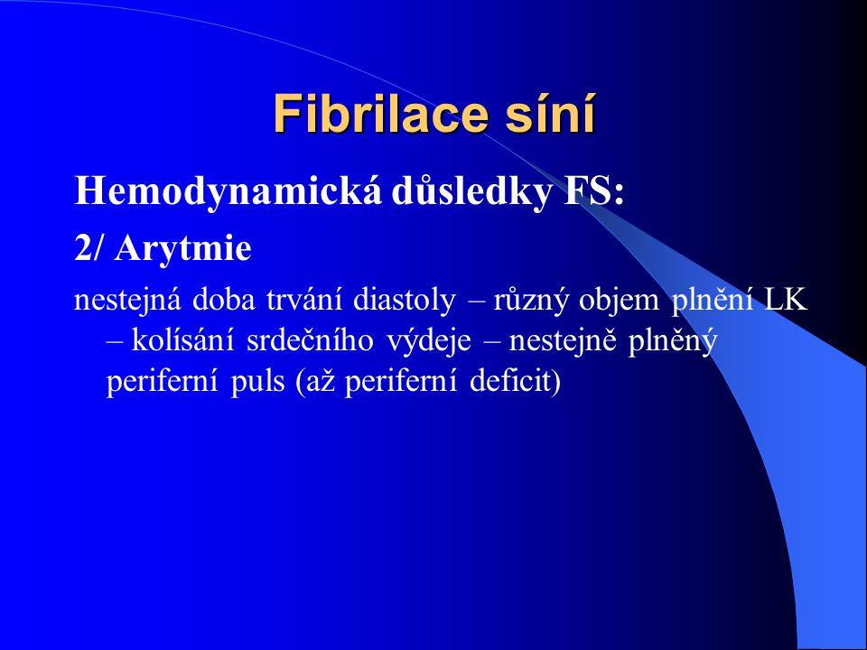 Fibrilace síní Hemodynamická důsledky FS: 2/ Arytmie