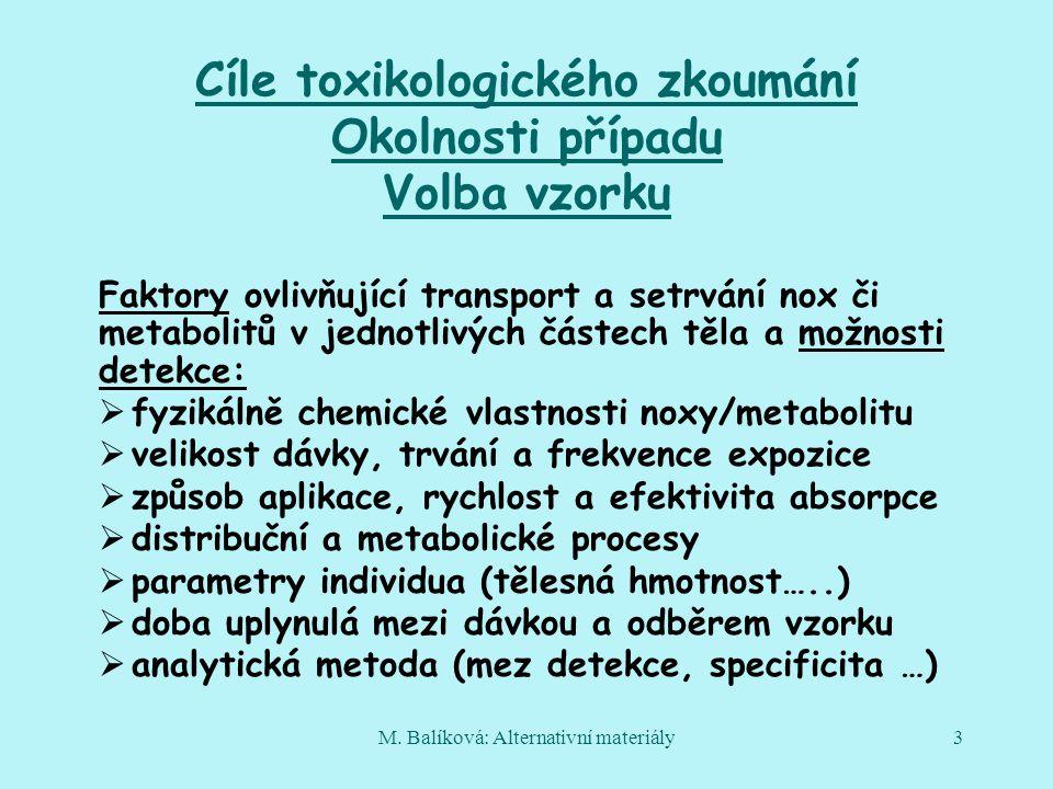 Cíle toxikologického zkoumání Okolnosti případu Volba vzorku