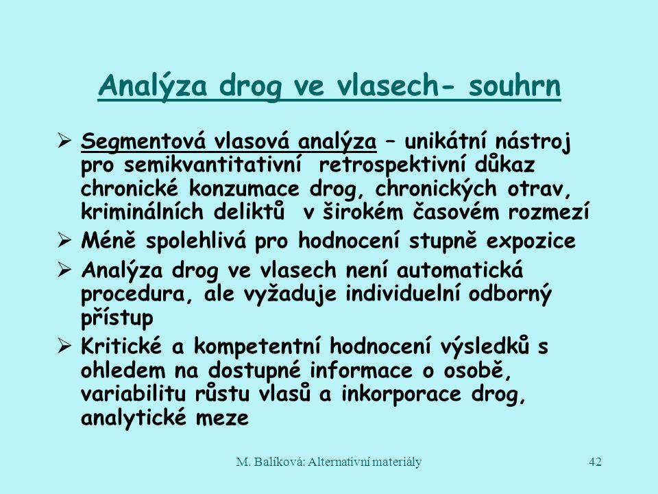 Analýza drog ve vlasech- souhrn