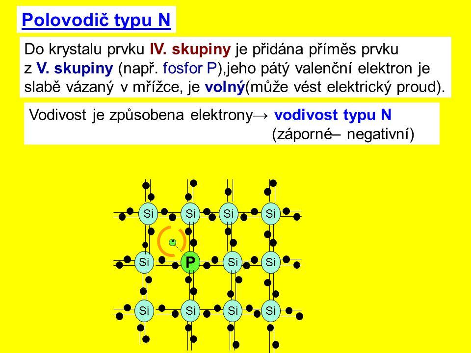 Polovodič typu N Do krystalu prvku IV. skupiny je přidána příměs prvku