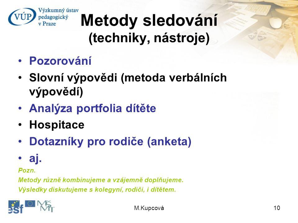 Metody sledování (techniky, nástroje)
