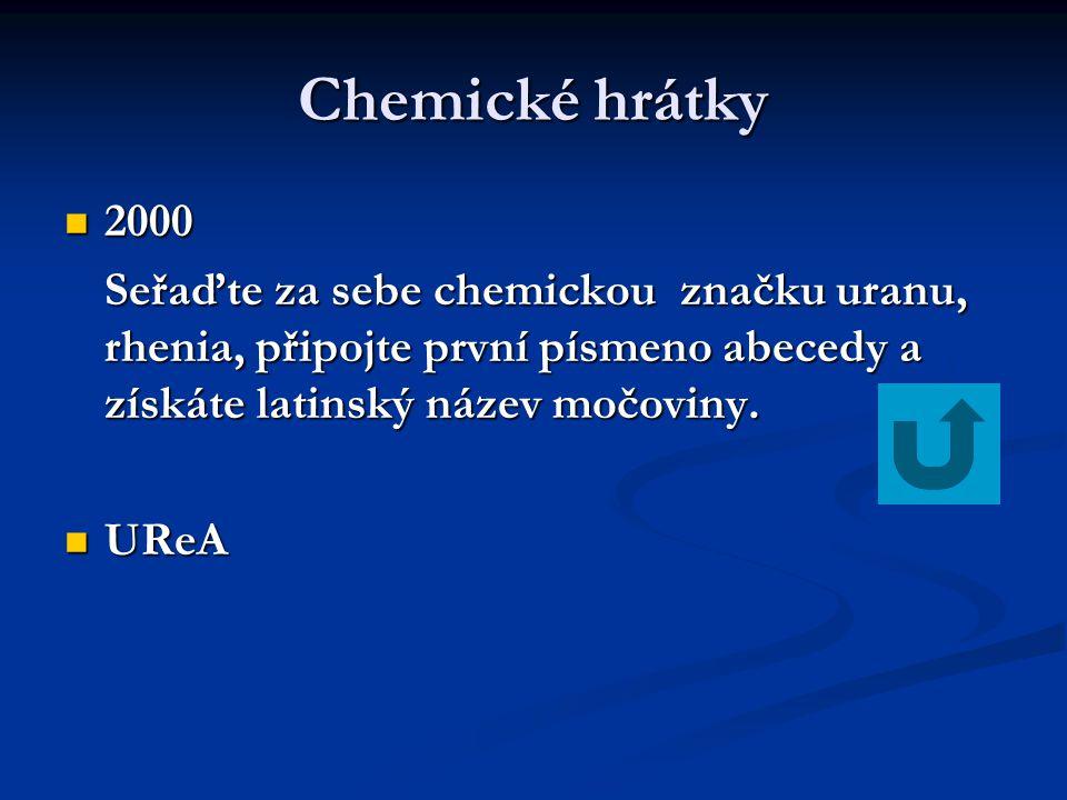 Chemické hrátky 2000. Seřaďte za sebe chemickou značku uranu, rhenia, připojte první písmeno abecedy a získáte latinský název močoviny.