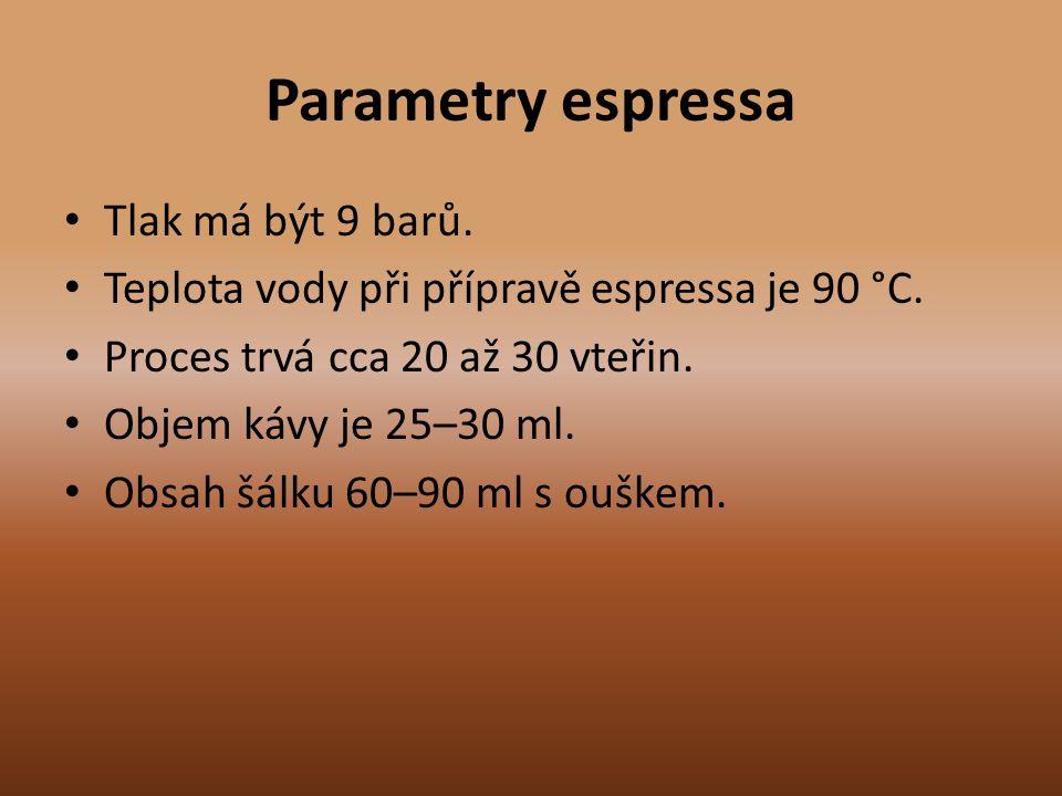 Parametry espressa Tlak má být 9 barů.