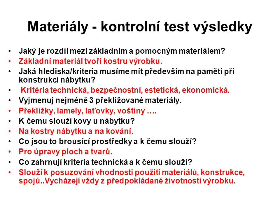 Materiály - kontrolní test výsledky