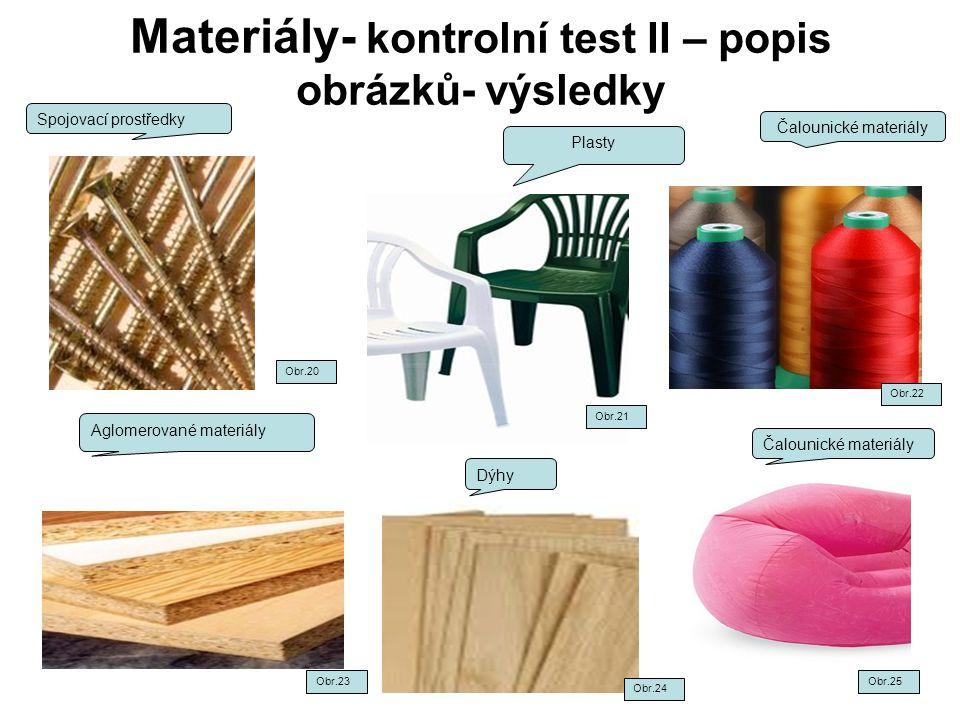 Materiály- kontrolní test II – popis obrázků- výsledky