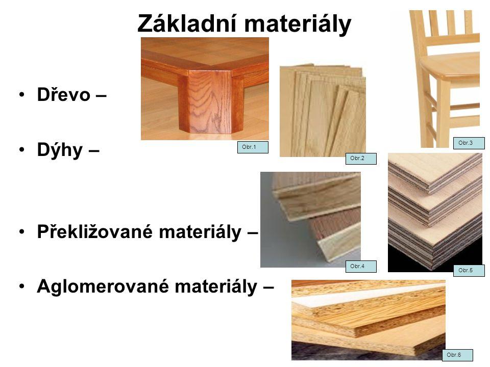 Základní materiály Dřevo – Dýhy – Překližované materiály –
