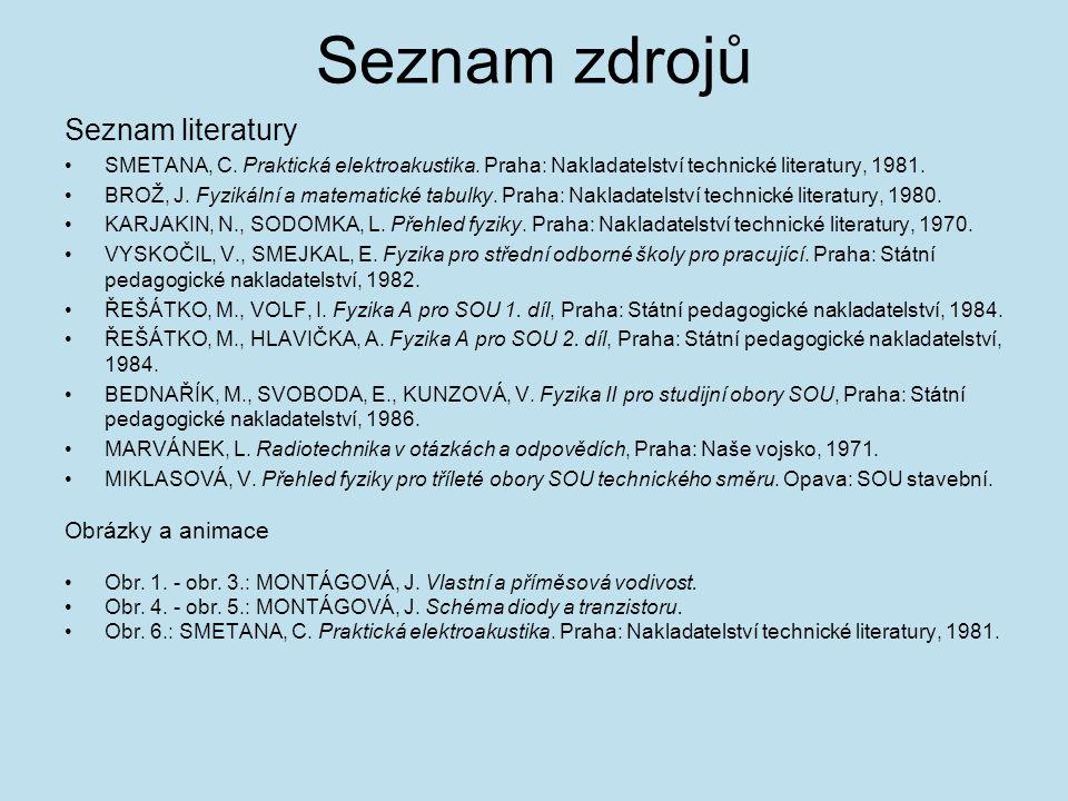 Seznam zdrojů Seznam literatury Obrázky a animace