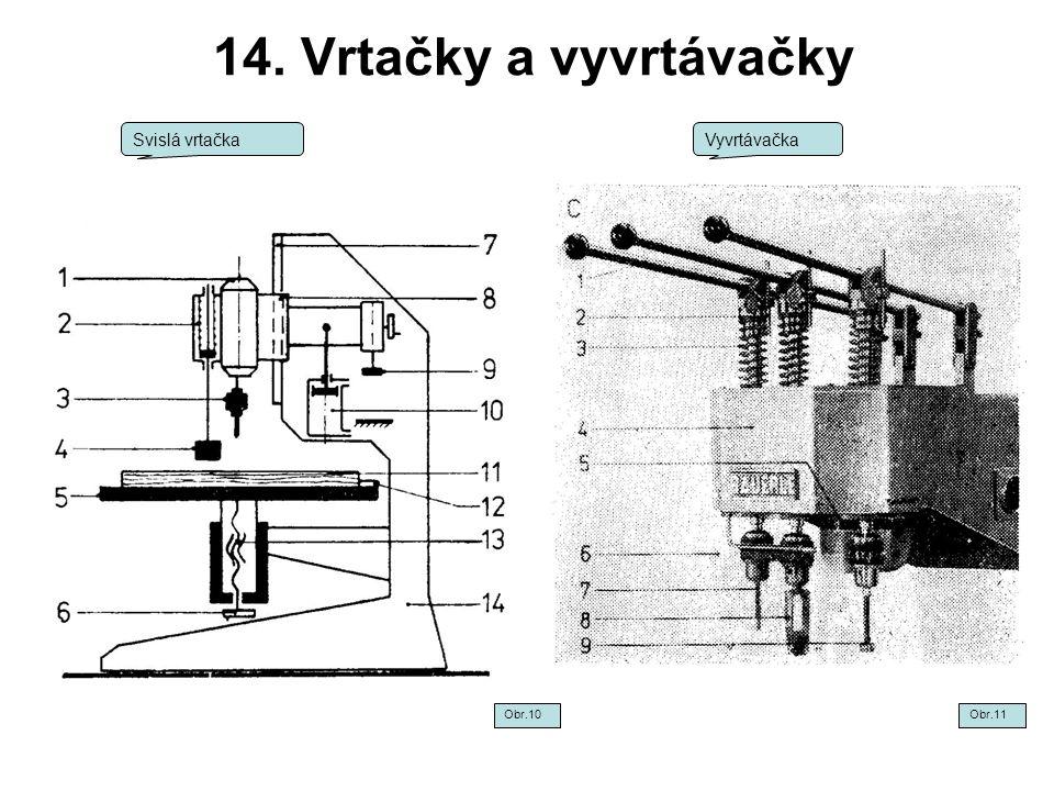 14. Vrtačky a vyvrtávačky Svislá vrtačka Vyvrtávačka Obr.10 Obr.11