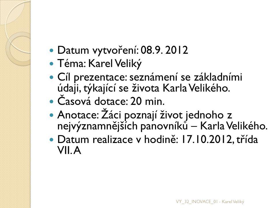 Datum realizace v hodině: 17.10.2012, třída VII. A