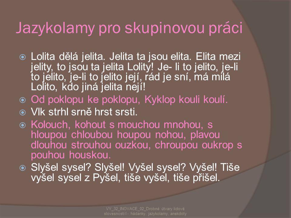 Jazykolamy pro skupinovou práci