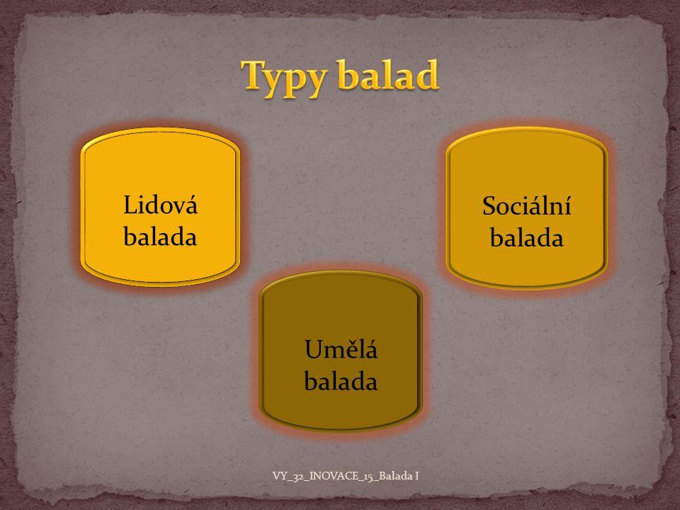 Typy balad Lidová balada Sociální balada Umělá balada