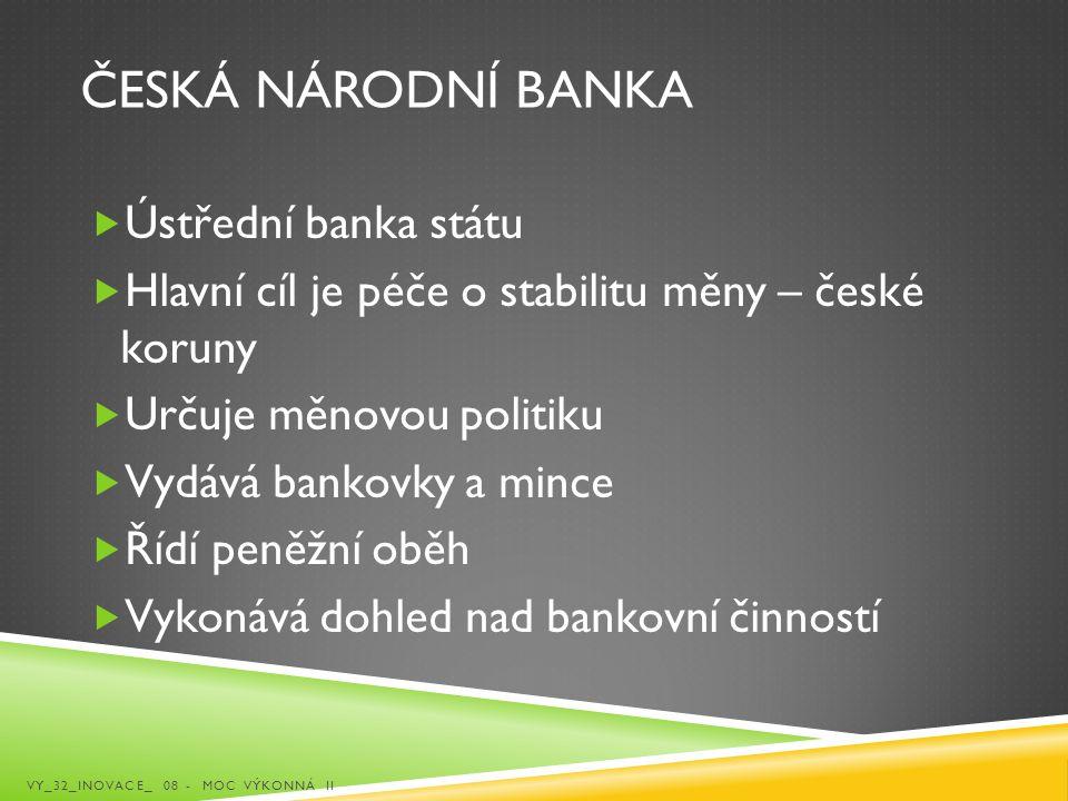 Česká národní banka Ústřední banka státu