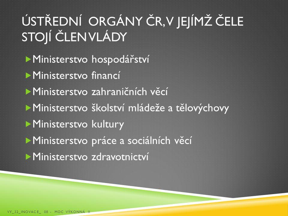 Ústřední orgány ČR, v jejímž čele stojí člen vlády