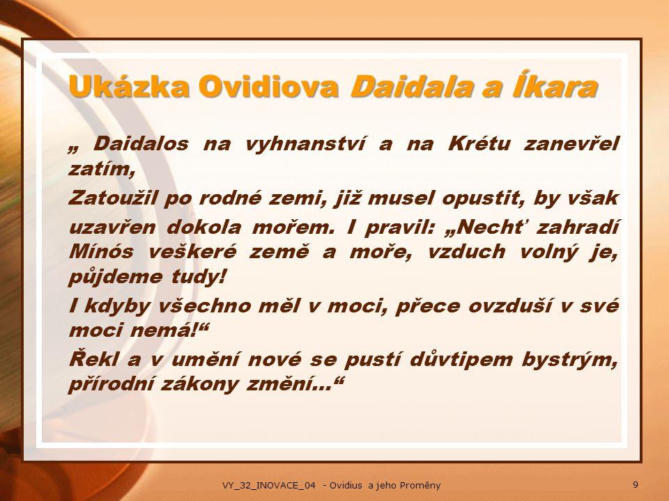 Ukázka Ovidiova Daidala a Íkara