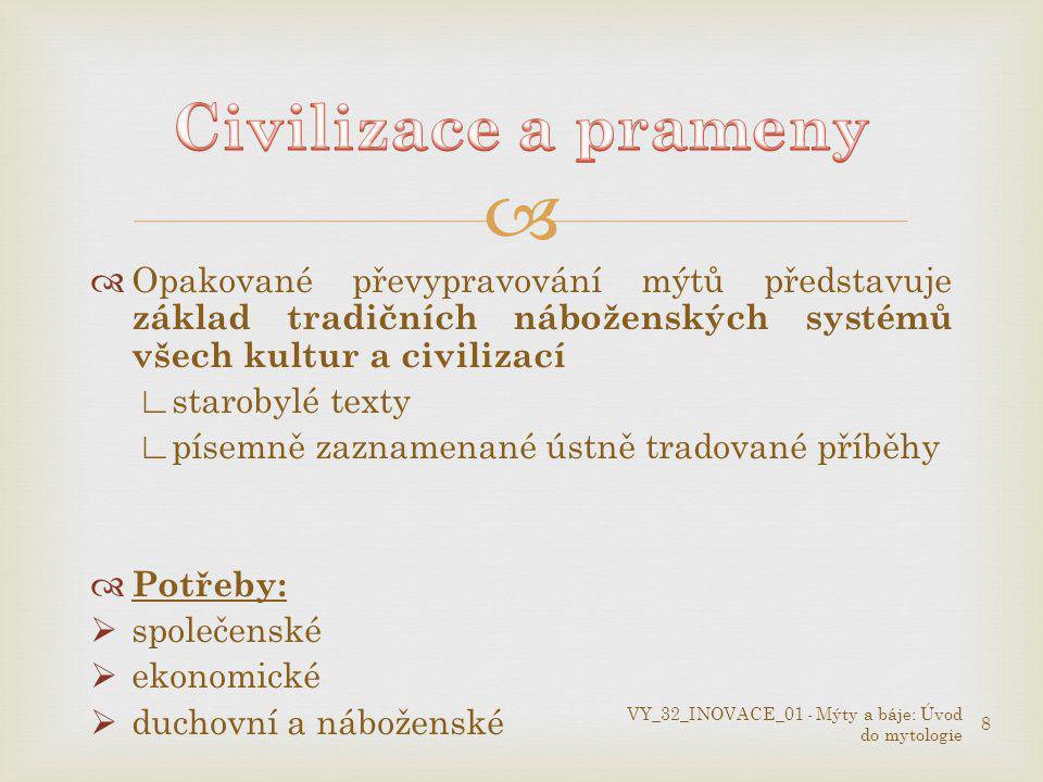Civilizace a prameny Opakované převypravování mýtů představuje základ tradičních náboženských systémů všech kultur a civilizací.