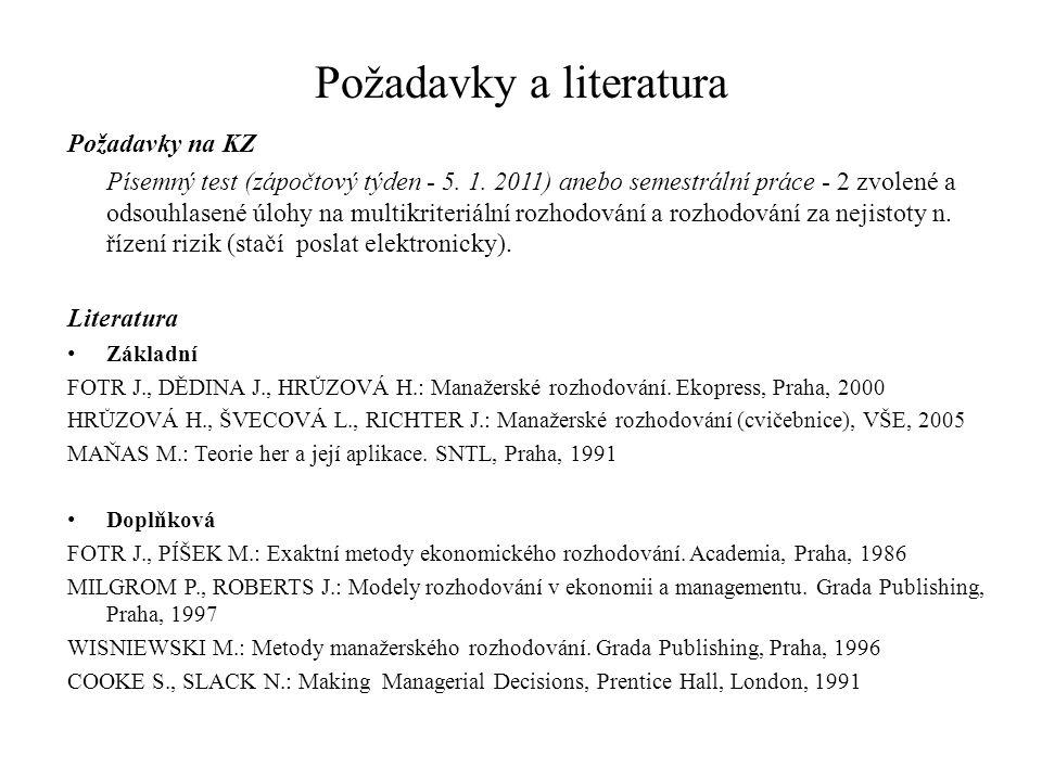 Požadavky a literatura