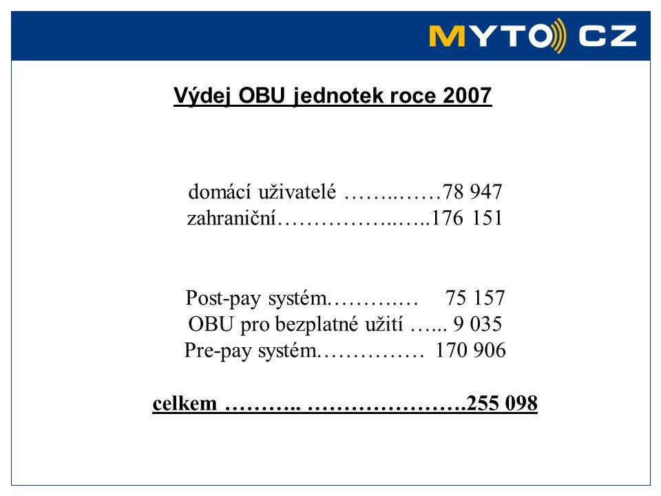Výdej OBU jednotek roce 2007