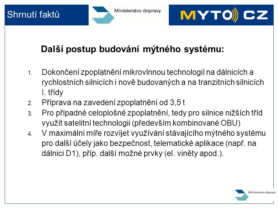 Další postup budování mýtného systému: