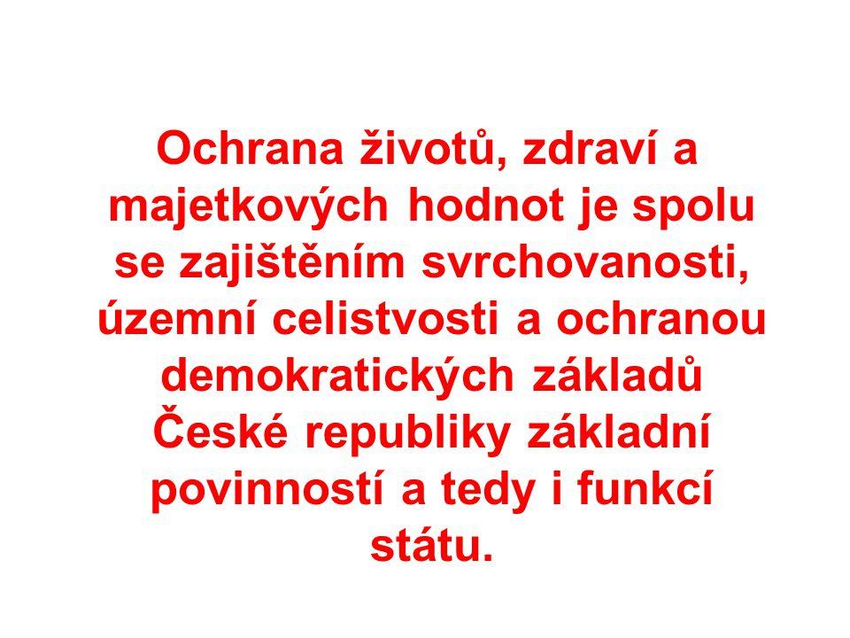 Ochrana životů, zdraví a majetkových hodnot je spolu se zajištěním svrchovanosti, územní celistvosti a ochranou demokratických základů České republiky základní povinností a tedy i funkcí státu.