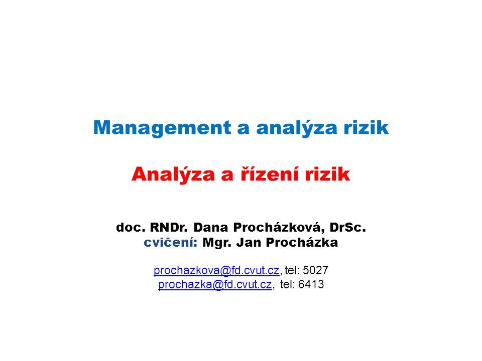 Management a analýza rizik Analýza a řízení rizik