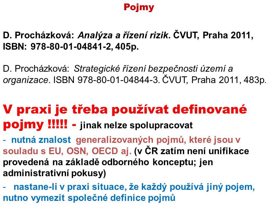 Pojmy D. Procházková: Analýza a řízení rizik. ČVUT, Praha 2011, ISBN: 978-80-01-04841-2, 405p.