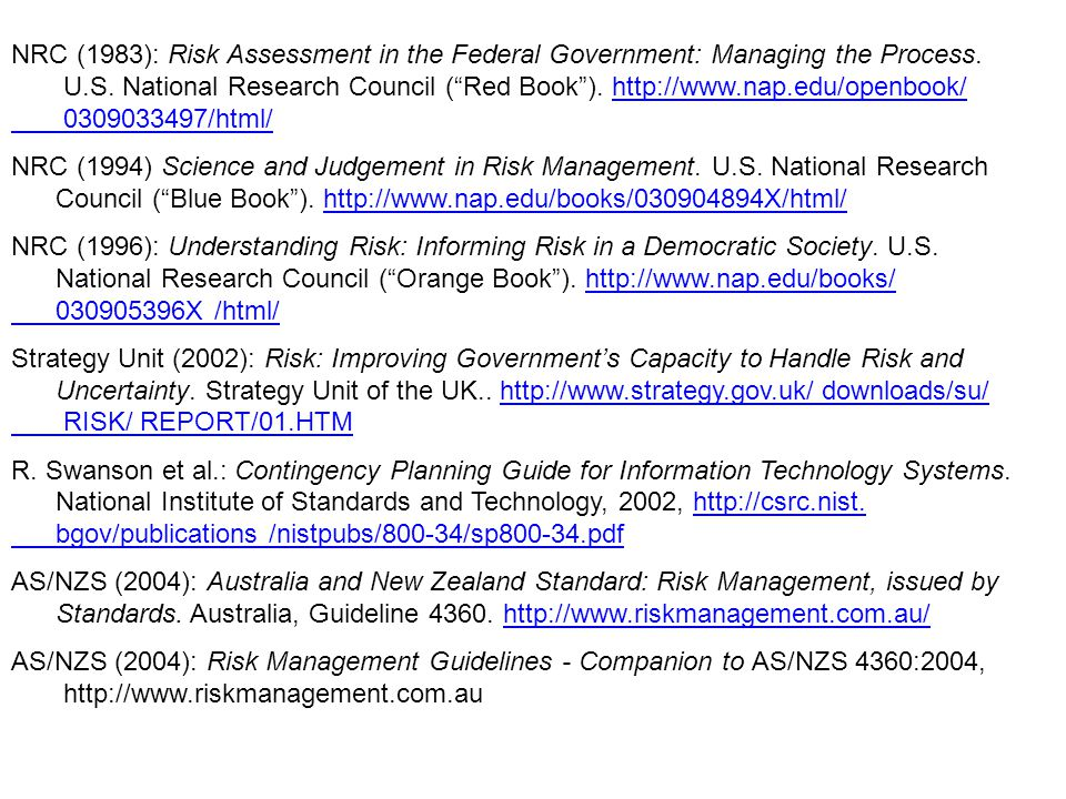 NRC (1983): Risk Assessment in the Federal Government: Managing the Process.