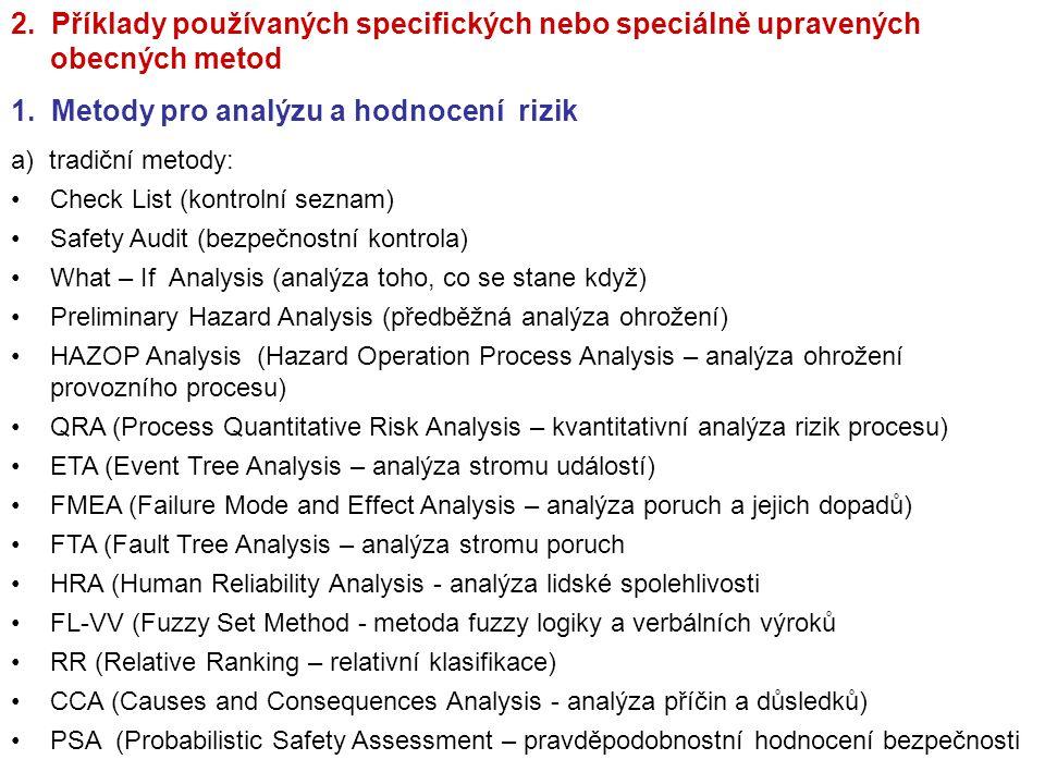 1. Metody pro analýzu a hodnocení rizik
