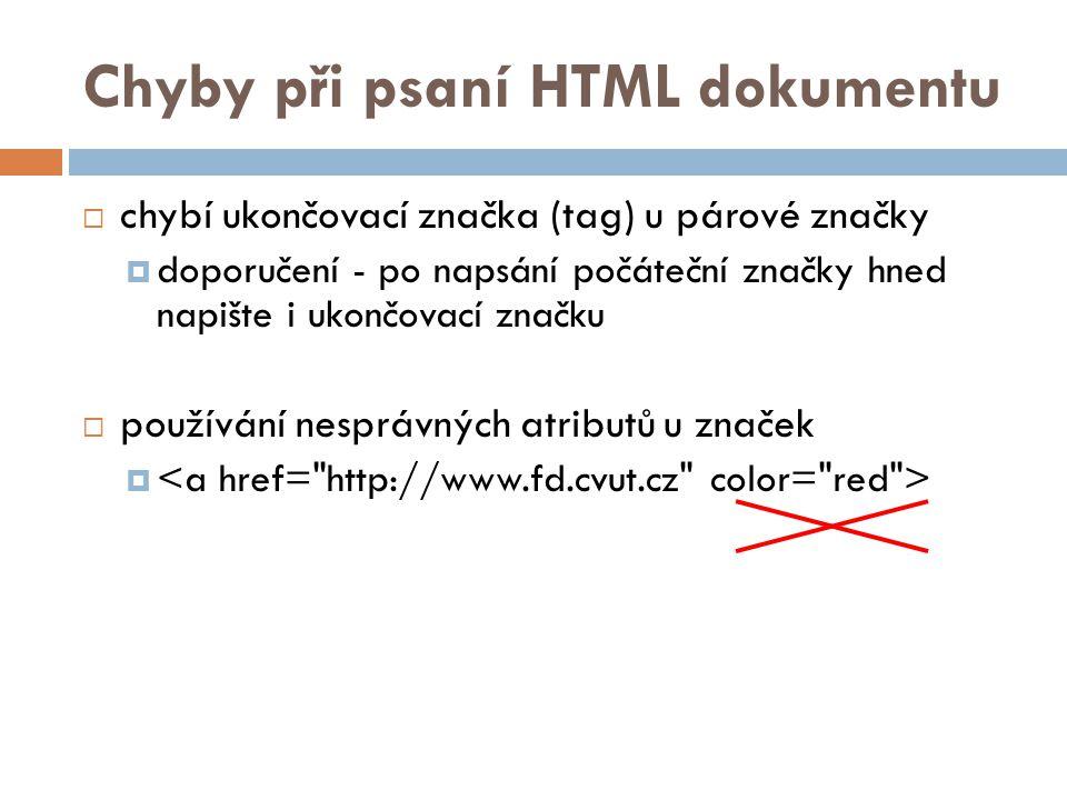 Chyby při psaní HTML dokumentu