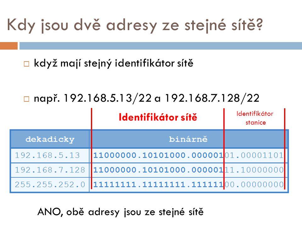 Kdy jsou dvě adresy ze stejné sítě
