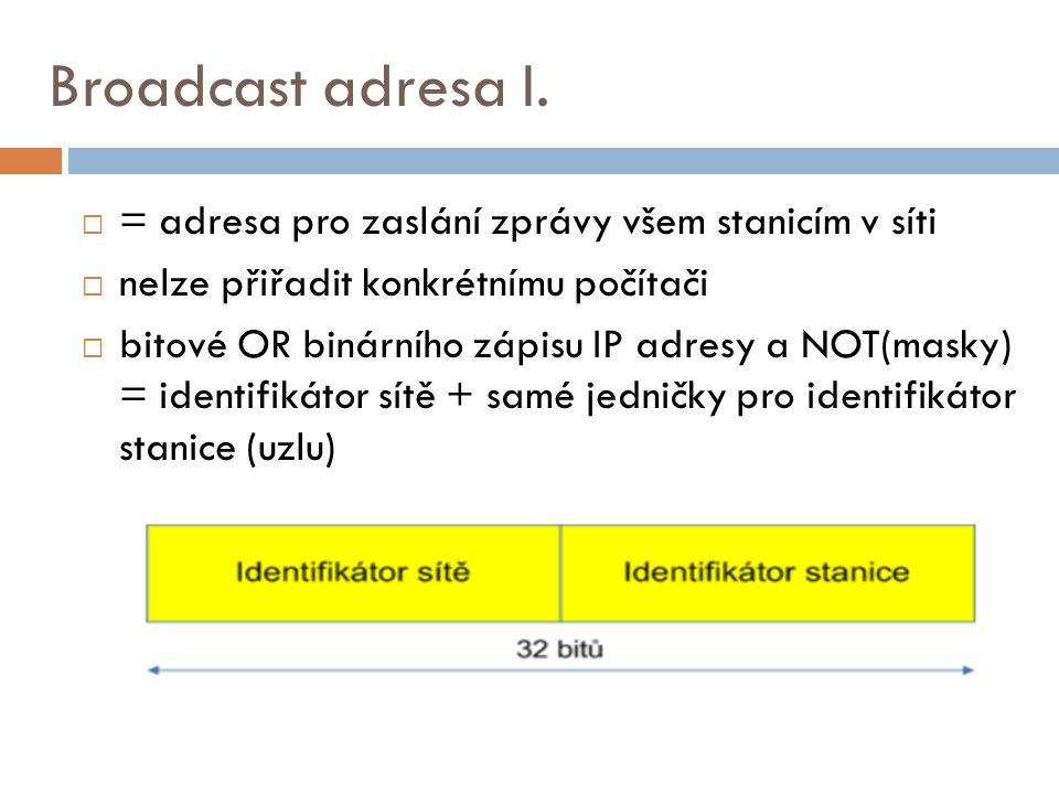 Broadcast adresa I. = adresa pro zaslání zprávy všem stanicím v síti