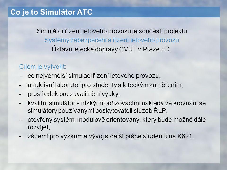 Co je to Simulátor ATC Simulátor řízení letového provozu je součástí projektu. Systémy zabezpečení a řízení letového provozu.