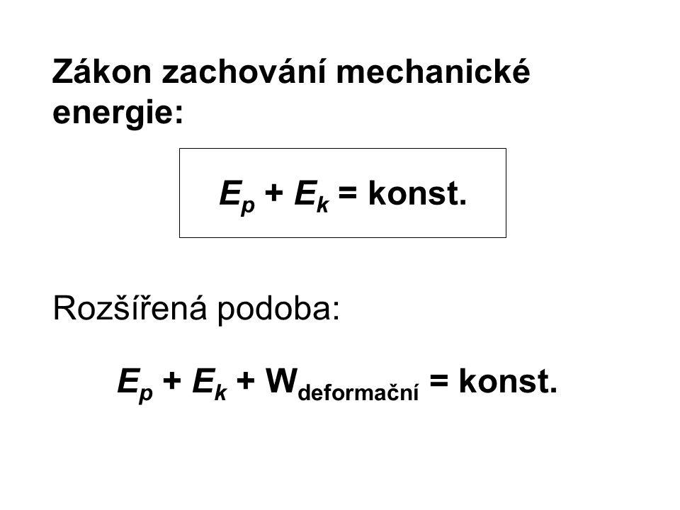 Zákon zachování mechanické energie: Rozšířená podoba: Ep + Ek + Wdeformační = konst.