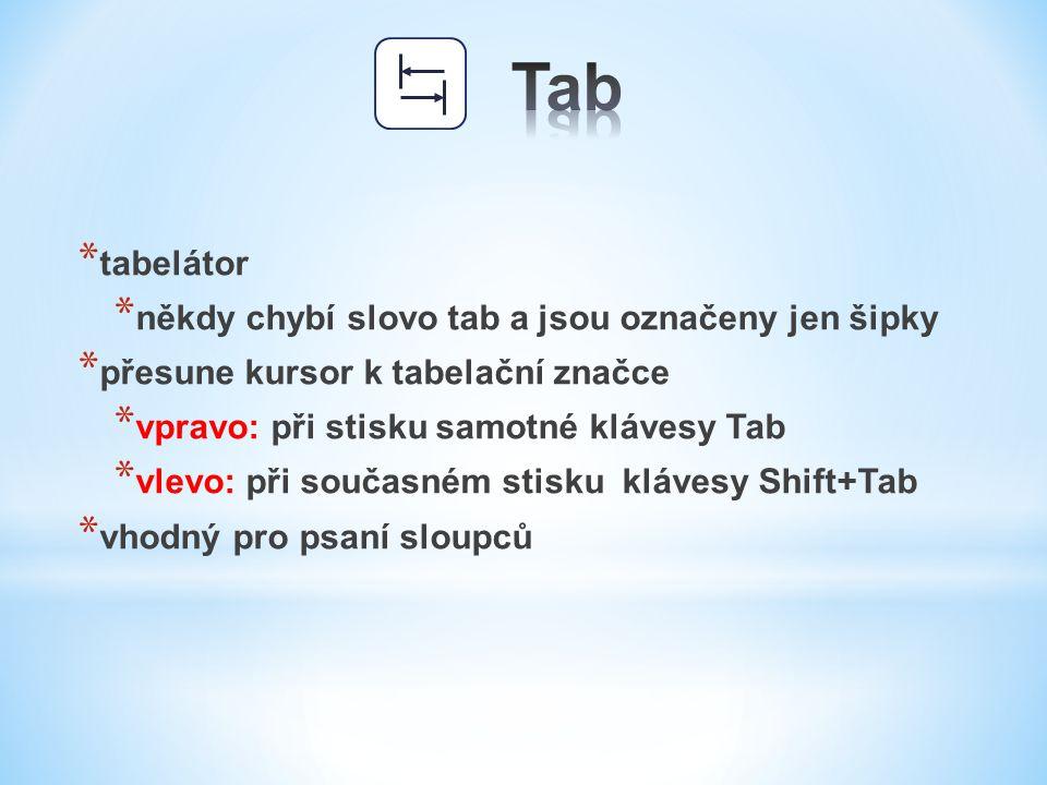 Tab tabelátor někdy chybí slovo tab a jsou označeny jen šipky