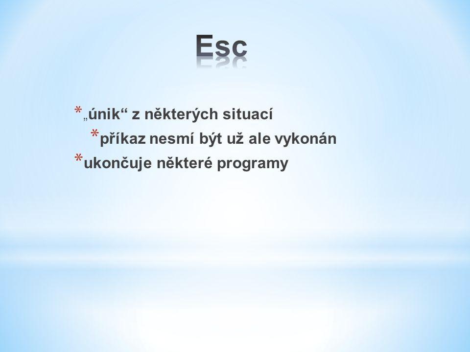 Esc příkaz nesmí být už ale vykonán ukončuje některé programy