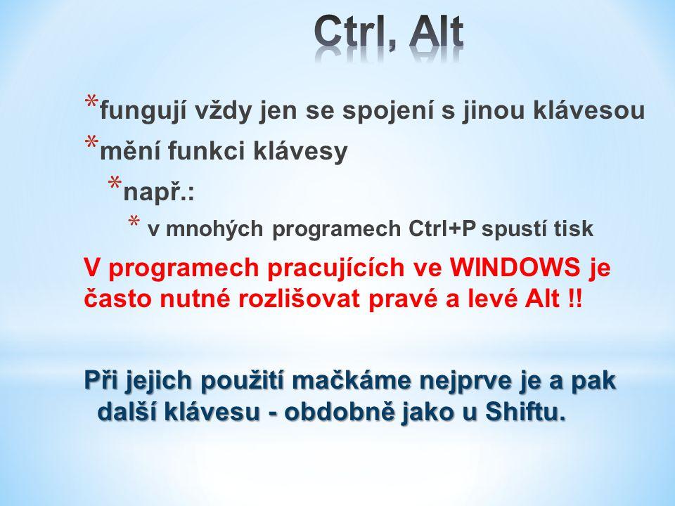 Ctrl, Alt fungují vždy jen se spojení s jinou klávesou