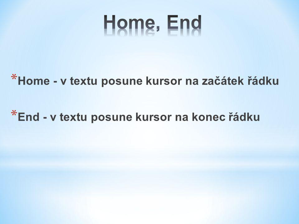Home, End Home - v textu posune kursor na začátek řádku