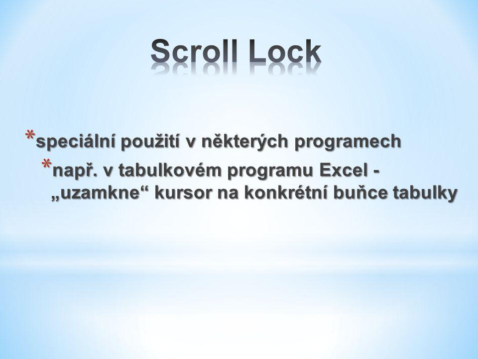 Scroll Lock speciální použití v některých programech