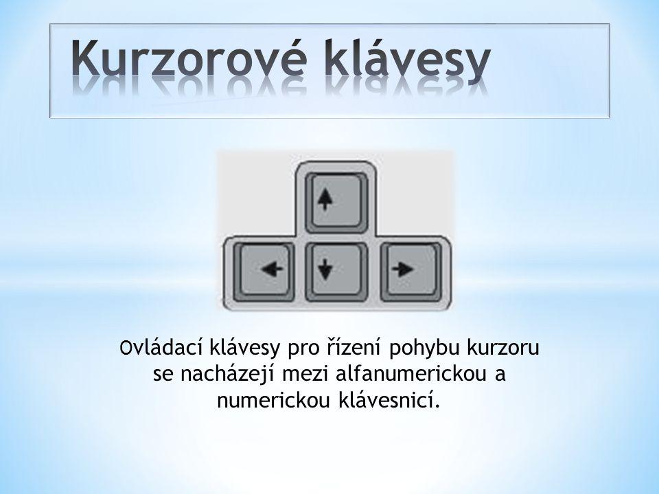 Kurzorové klávesy Ovládací klávesy pro řízení pohybu kurzoru se nacházejí mezi alfanumerickou a numerickou klávesnicí.