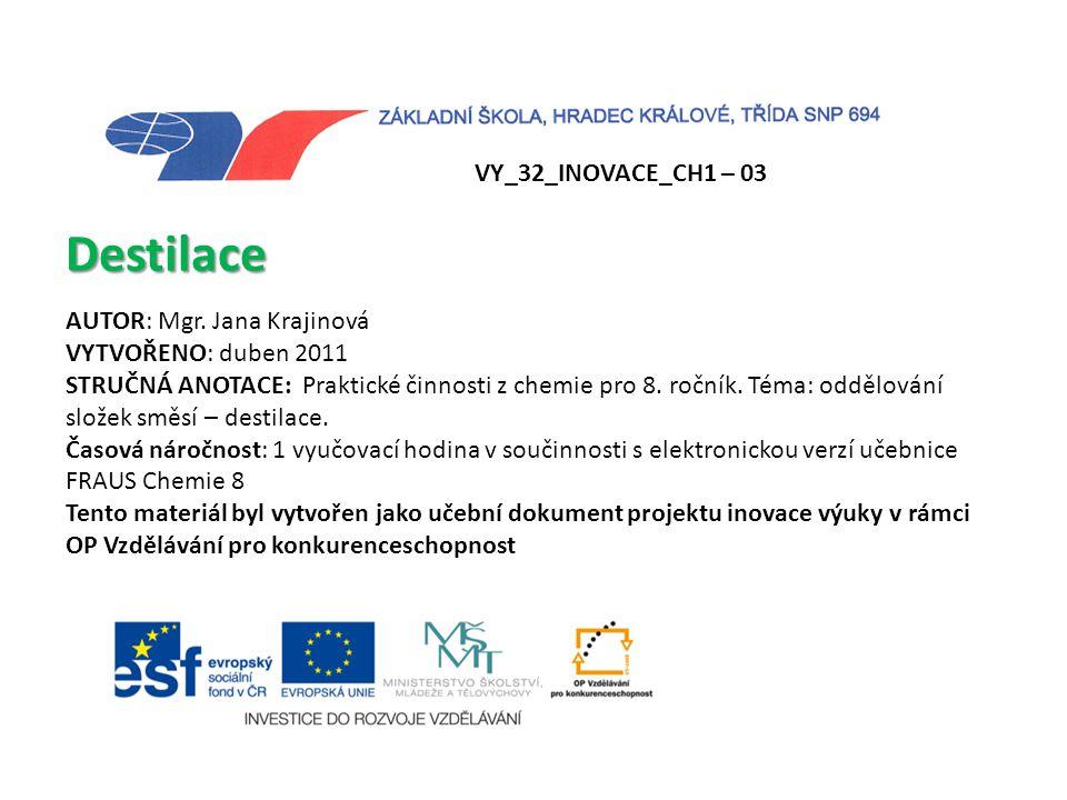 Destilace VY_32_INOVACE_CH1 – 03 AUTOR: Mgr. Jana Krajinová