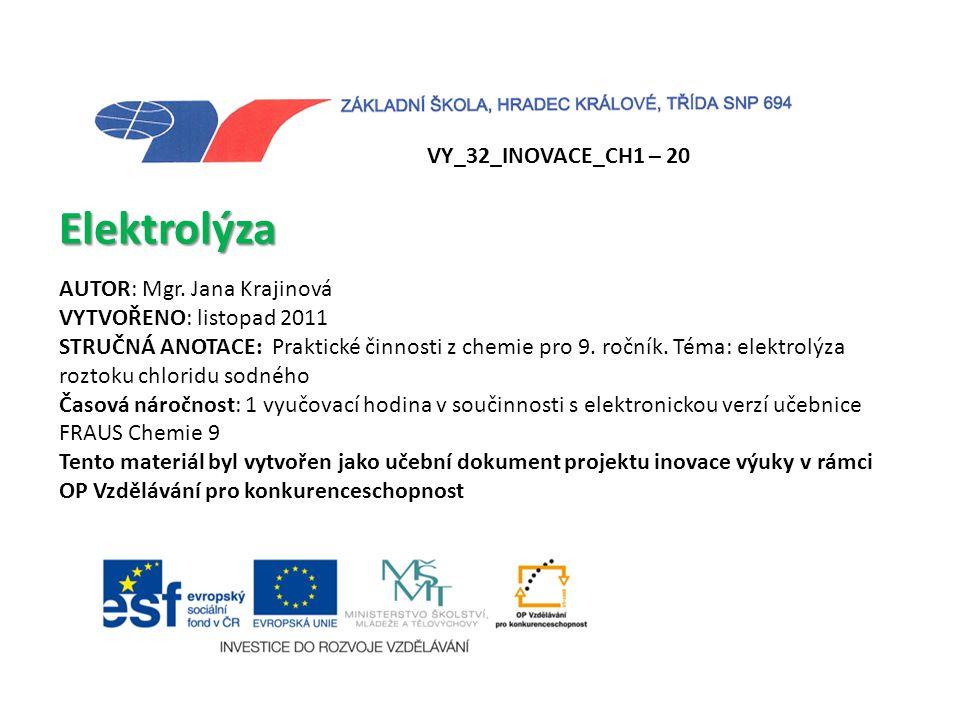 Elektrolýza VY_32_INOVACE_CH1 – 20 AUTOR: Mgr. Jana Krajinová