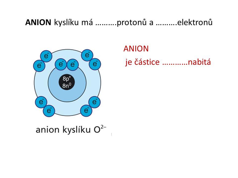 ANION kyslíku má ……….protonů a ……….elektronů