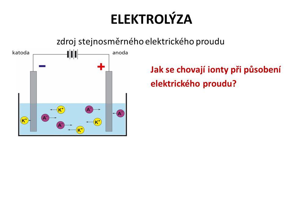 ELEKTROLÝZA zdroj stejnosměrného elektrického proudu Jak se chovají ionty při působení elektrického proudu.