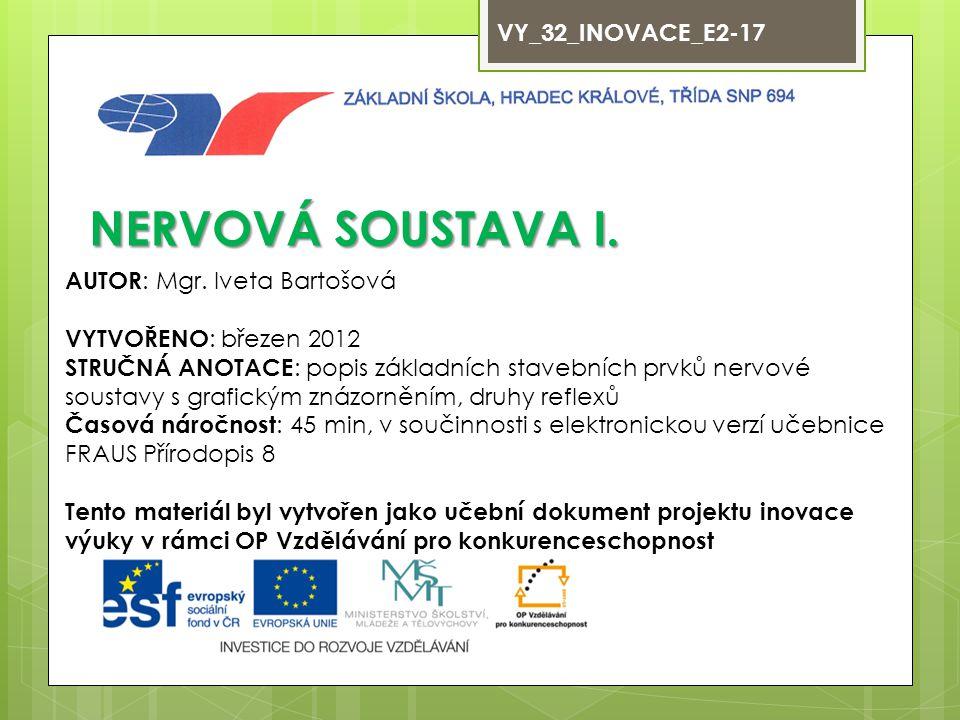 NERVOVÁ SOUSTAVA I. VY_32_INOVACE_E2-17 AUTOR: Mgr. Iveta Bartošová