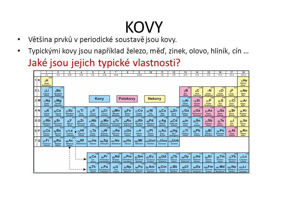 KOVY Většina prvků v periodické soustavě jsou kovy.